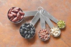 未加工的品种豆和谷物植物量匙的在木桌上 免版税库存图片