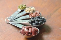 未加工的品种豆和谷物植物量匙的在木桌上 库存照片