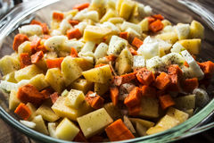 未加工的土豆红萝卜葱 免版税图库摄影