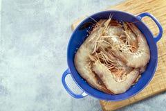 未加工的大虾或虾在滤锅 免版税库存图片
