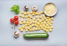 未加工的意大利式饺子面团平的位置与成份的烹调在灰色背景,顶视图的鲜美素食主义者的 carpaccio烹调非常好的食物意大利生活方式豪华 免版税库存照片