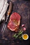 未加工的新鲜的肉Ribeye牛排 免版税库存图片
