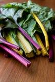未加工的有机木表面上的彩虹瑞士牛皮菜 免版税库存图片