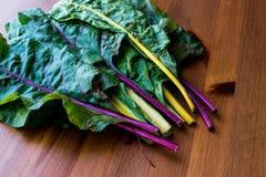 未加工的有机木表面上的彩虹瑞士牛皮菜 库存照片