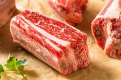 未加工的有机牛肉牛排骨 免版税库存图片