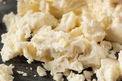 未加工的有机白色希腊白软干酪 免版税库存照片