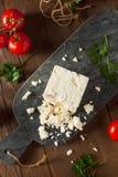 未加工的有机白色希腊白软干酪 库存照片