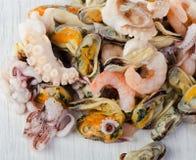 未加工的混杂的海鲜 免版税库存图片