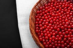 未加工的红浆果在一个灰色袋子和在一个黑背景特写镜头 在一个木篮子的鲜美红色莓果 库存照片