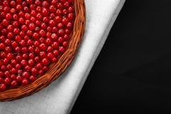 未加工的红浆果在一个灰色袋子和在一个黑背景特写镜头 在一个木篮子的鲜美红色莓果 免版税库存图片