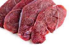 未加工的红肉牛排演播室射击被隔绝反对白色后面 免版税图库摄影