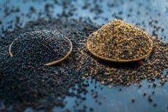 未加工的芥菜籽、Sarso或者rai木表面与黑暗的哥特式颜色,它的植物种子上是矿物的一个富有的来源这样a 库存图片
