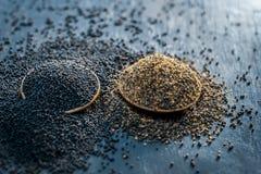 未加工的芥菜籽、Sarso或者rai木表面与黑暗的哥特式颜色,它的植物种子上是矿物的一个富有的来源这样a 免版税库存照片