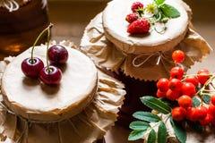 未加工的草莓、樱桃和花楸浆果在瓶子有果子蜜饯的 库存照片