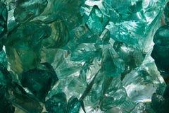 未加工的蓝绿色玻璃 库存照片
