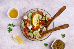 未加工的蔬菜沙拉在油的 免版税图库摄影
