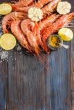 未加工的虾、大蒜、石灰、咖喱和海盐在黑暗的木背景 库存图片
