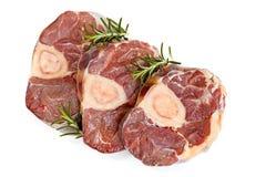 未加工的被隔绝的Osso Bucco小牛肉小腿顶视图 免版税库存照片