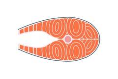 未加工的鲑鱼排,平的传染媒介例证用鱼肉 库存图片