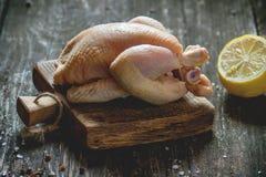 未加工的鸡用柠檬 免版税库存照片