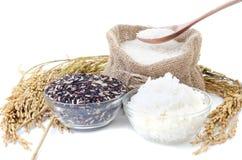 未加工的黑米白米的米、选择和白色蒸了r 库存照片