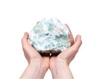 未加工的绿色荧石自然大块 免版税库存照片