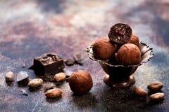 未加工的从被磨碎的可可粉的糖果块菌甜球 免版税库存图片