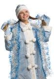 未婚微笑的雪闪亮金属片 库存图片