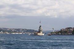 未婚的塔(土耳其语:Kız Kulesi)在伊斯坦布尔 库存图片