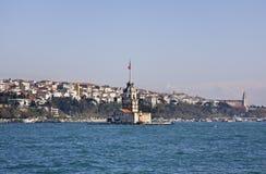 未婚的塔(Leander的塔)在伊斯坦布尔 火鸡 免版税库存照片