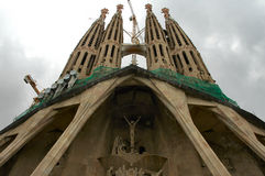 未完成巴塞罗那的大教堂 免版税库存图片