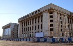 未完成的共产主义建筑学在布加勒斯特 库存照片