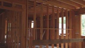 未完成的木构成建筑或房子 股票录像