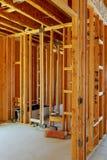 未完成的木构成建筑或房子 免版税库存图片