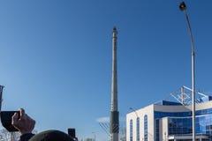 未完成的电视塔在叶卡捷琳堡在俄罗斯起爆了03/24/2018 免版税库存图片