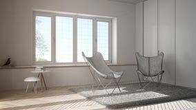 未完成的项目草稿室内设计、最小的客厅有扶手椅子地毯的,镶花地板和全景窗口 免版税库存图片