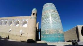 未完成的Kalta较小尖塔尖塔穆罕默德阿明可汗Khiva,乌兹别克斯坦 股票录像