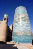 未完成的Kalta较小尖塔(尖塔穆罕默德阿明可汗(19世纪)) Khiva,乌兹别克斯坦 库存照片