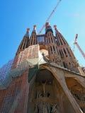未完成的La Familia Sagrada,巴塞罗那,卡塔龙尼亚,西班牙 免版税库存图片