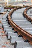 未完成铁路的电车轨道 免版税库存照片