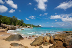 未损坏的热带海滩在斯里兰卡 免版税库存照片