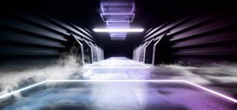 未来充满活力科学幻想小说烟霓虹激光太空飞船黑暗的走廊发光的紫色红色蓝色具体难看的东西走廊的虚拟现实 皇族释放例证