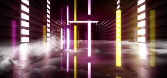 未来充满活力科学幻想小说烟霓虹激光太空飞船黑暗的走廊发光的紫色红色黄色具体难看的东西走廊的虚拟现实 向量例证