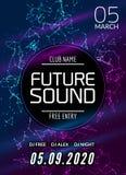 未来合理的音乐党模板,舞会飞行物,小册子 夜党俱乐部创造性的横幅或海报与DJ 向量例证