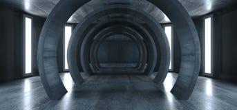 未来圈子现代典雅的外籍人太空船隧道走廊难看的东西具体走廊地下入口陈列室空的黑暗的3D 向量例证