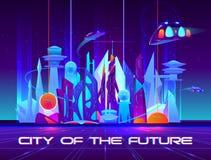 未来城市在与充满活力的霓虹灯的晚上 库存例证