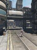未来城市-巡逻的战士 库存图片