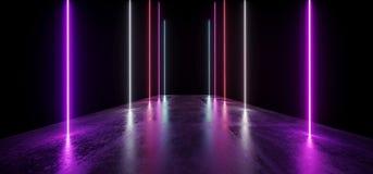 未来夜霓虹展示充满活力的焕发紫色蓝色现代未来派地下具体难看的东西地板反射空的陈列室 库存例证