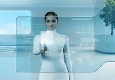 未来技术。 女孩按钮触摸屏幕接口。 免版税图库摄影