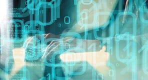 未来技术,键入在键盘的计算机黑客 免版税库存照片